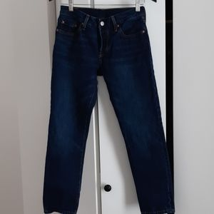 Levi's 501 Cropped and Tapered dark blue denim